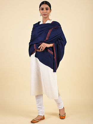 Blue Hand Embroidered Pashmina Hashiadaar Shawl