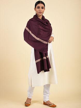 Purple Hand Embroidered Pashmina Hashiadaar Shawl