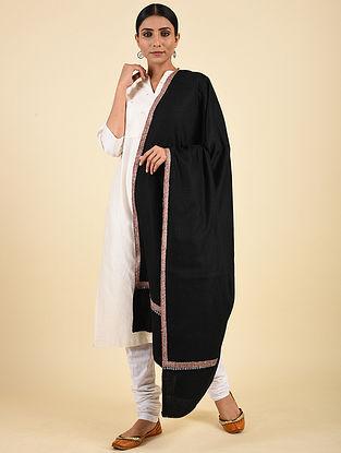 Black Hand Embroidered Pashmina Hashiadaar Shawl