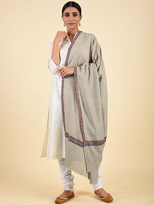 Grey Hand Embroidered Pashmina Neemdor Shawl