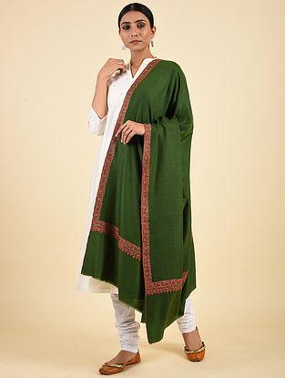 Green Hand Embroidered Pashmina Neemdor Shawl
