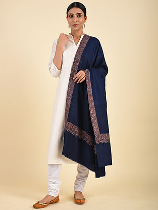 Blue Hand Embroidered Pashmina Mediumdor Shawl