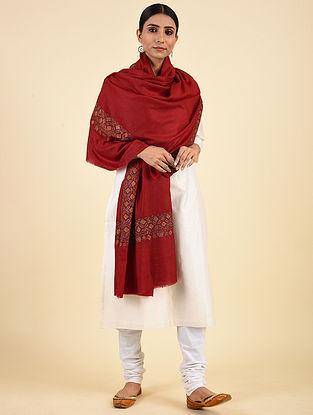 Red Hand Embroidered Pashmina Mediumdor Shawl