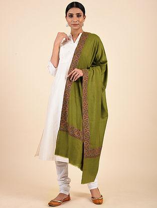 Green Hand Embroidered Pashmina Mediumdor Shawl