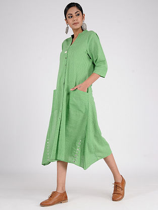 Green Handwoven Cotton Dress with Mirror work