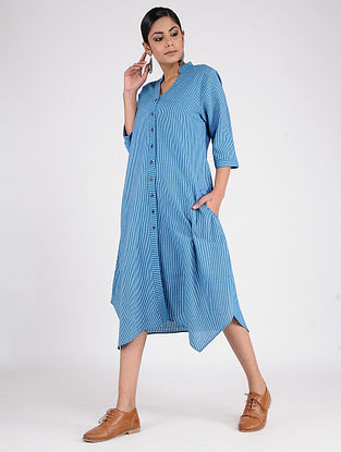 Blue Hand-Embroidered Handwoven Cotton Dress