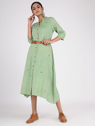 Green-Rust Hand-Embroidered Handwoven Cotton Dress