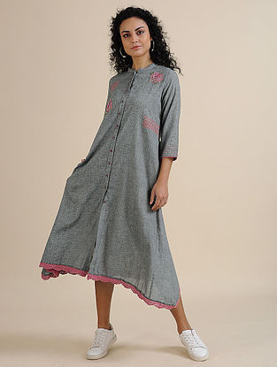 Grey Gingham Khadi Dress with Hand Embroidery and Lace Detailing