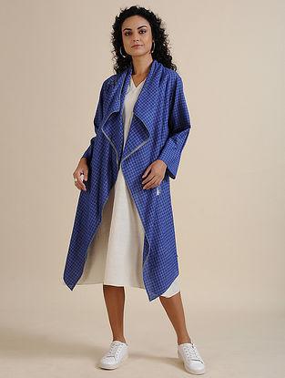 Indigo Hand Embroidered Khadi Jacket with Ivory Slip Dress (Set of 2)
