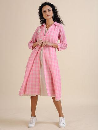 Pink Hand Embroidered Khadi Jacket with Ivory Slip Dress (Set of 2)
