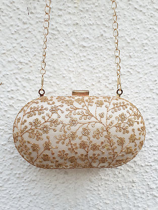 White-Gold Embroidered Capsule Clutch with Sequin Work