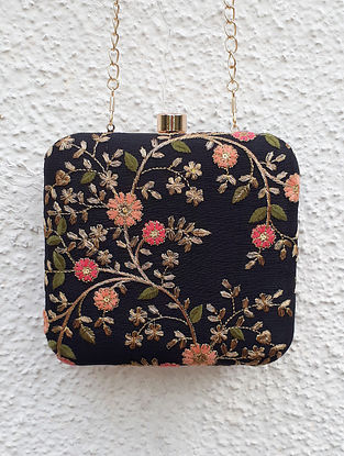 Black-Multicolored Embroidered Box Clutch
