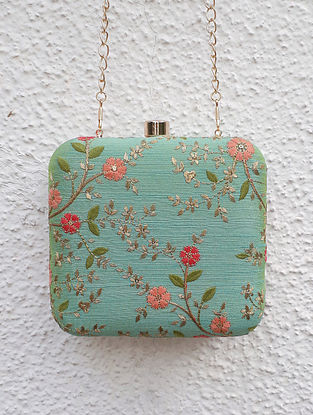 Aqua Blue Embroidered Box Clutch