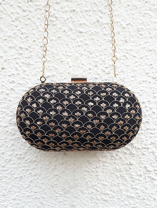 Black-Gold Embroidered Capsule Clutch