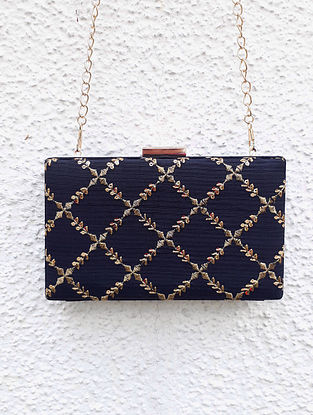 Black-Gold Embroidered Clutch