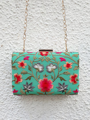 Aqua Green-Multicolored Embroidered Clutch