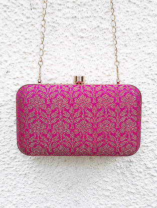 Pink-Gold Banarasi Clutch