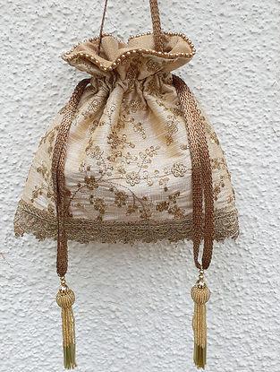 Beige-Gold Embroidered Silk Potli