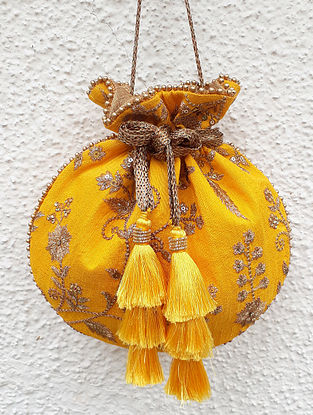 Yellow-Gold Embroidered Silk Potli