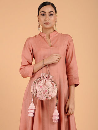Peach Embroidered Potli with Tassels