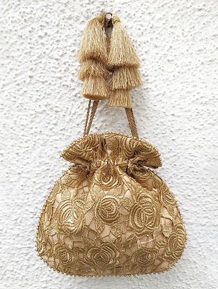 Gold Handcrafted Cutwork Potli