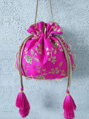 Pink Handcrafted Embroidered Poly Silk Potli
