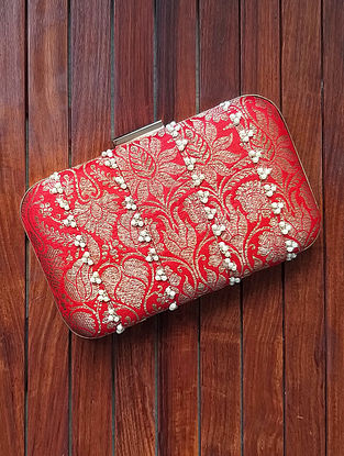 Red Handcrafted Silk Clutch