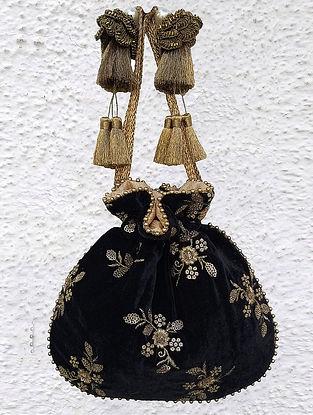 Black Hand Embroidered Velvet Potli