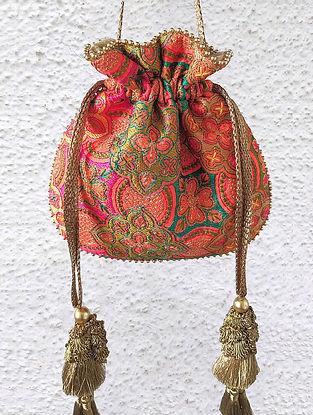 Multicolored Hand Embroidered Silk Potli