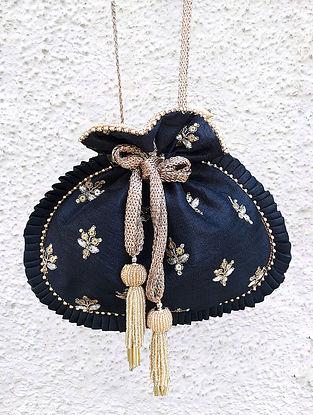 Black Hand Embroidered Poly Silk Potli