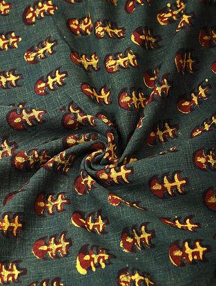 Green Ajrakh-printed Cotton Fabric