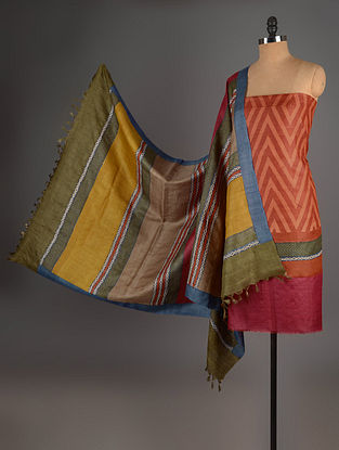 Red-Blue-Orange Tussar Silk Block Printed Kurta Fabric with Salwar and Dupatta - Set of 3