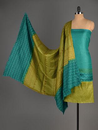 Green-Olive Tussar Silk Block Printed Kurta Fabric with Salwar and Dupatta - Set of 3
