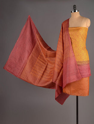 Red-Mustard-Orange Tussar Silk Block Printed Kurta Fabric with Salwar and Dupatta - Set of 3