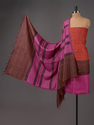 Red-Fuschia-Brown Tussar Silk Block Printed Kurta Fabric with Salwar and Dupatta - Set of 3