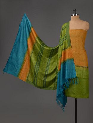 Green-Blue-Mustard Tussar Silk Block Printed Kurta Fabric with Salwar and Dupatta - Set of 3