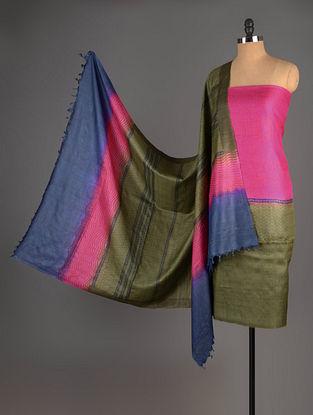 Pink-Olive-Blue Tussar Silk Block Printed Kurta Fabric with Salwar and Dupatta - Set of 3