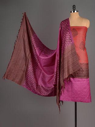 Pink-Red Tussar Silk Block Printed Kurta Fabric with Salwar and Dupatta - Set of 3