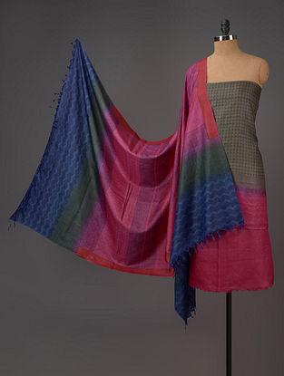 Pink-Blue-Olive Tussar Silk Block Printed Kurta Fabric with Salwar and Dupatta - Set of 3