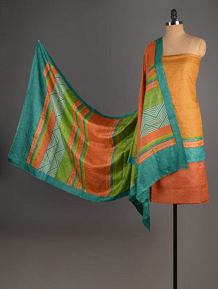 Rust-Green-Mustard Tussar Silk Block Printed Kurta Fabric with Salwar and Dupatta - Set of 3