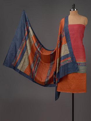 Red-Orange-Blue Tussar Silk Block Printed Kurta Fabric with Salwar and Dupatta - Set of 3
