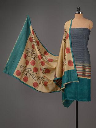 Beige-Blue Tussar Silk Block Printed Kurta Fabric with Salwar and Dupatta - Set of 3