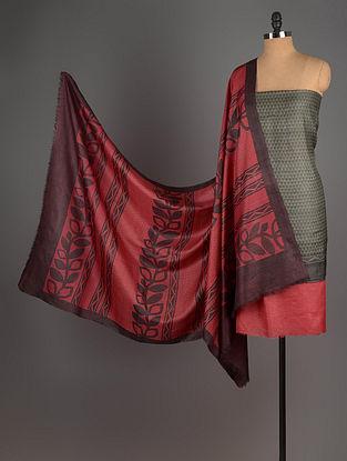 Red-Olive-Black Tussar Silk Block Printed Kurta Fabric with Salwar and Dupatta - Set of 3