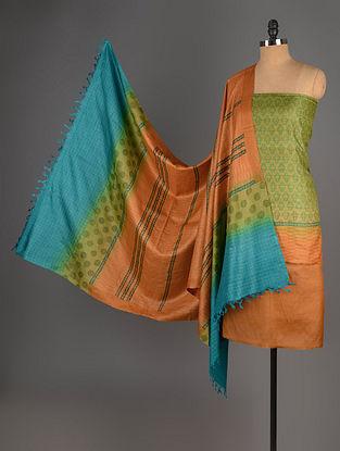 Lime-Green-Mustard Tussar Silk Block Printed Kurta Fabric with Salwar and Dupatta - Set of 3