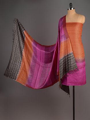 Fuschia-Orange Tussar Silk Block Printed Kurta Fabric with Salwar and Dupatta - Set of 3
