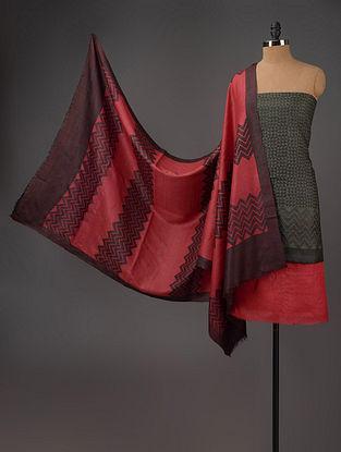 Black-Red-Wine Tussar Silk Block Printed Kurta Fabric with Salwar and Dupatta - Set of 3