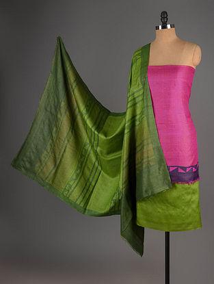 Fuschia-Green Tussar Silk Block Printed Kurta Fabric with Salwar and Dupatta - Set of 3