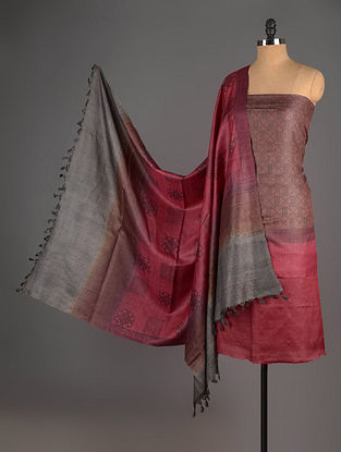 Red-Brown Tussar Silk Block Printed Kurta Fabric with Salwar and Dupatta - Set of 3