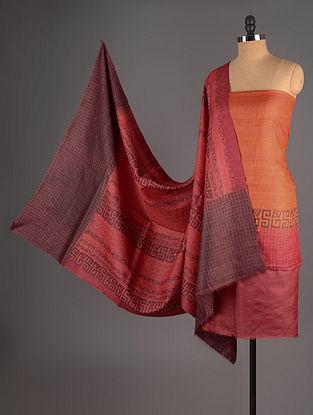 Maroon-Wine-Orange Tussar Silk Block Printed Kurta Fabric with Salwar and Dupatta - Set of 3