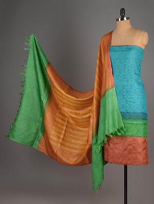 Blue-Green-Mustard Tussar Silk Block Printed Kurta Fabric with Salwar and Dupatta - Set of 3